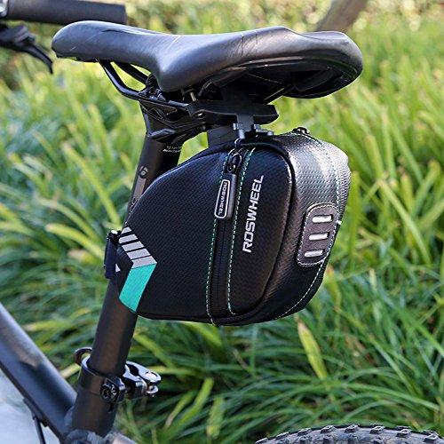 Fahrrad Satteltasche Wasserdicht, BODECIN Bike Unter Seat Bag, Bike Rear Bags, Fahrrad Radfahren Sattel Tasche Seat Pack Strap-on Bag mit Reflektierenden Streifen und Rücklicht Himmel Blau