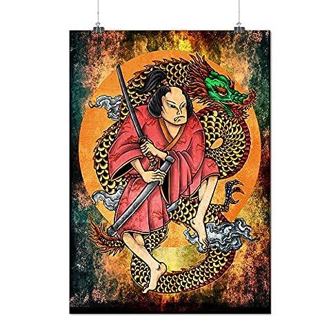 Samurai Schwert Drachen Kunst Mattes/Glänzende Plakat A2 (60cm x 42cm) | Wellcoda
