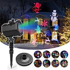 Idea Regalo - [ Distanza di proiezione fino a 15m ] InnooLight Christmas Proiettore 15 Soggetti Impermeabile Proiettore Natale Luci Natalizie da Esterno Decorazioni Natalizie, Luci Natale LED Proiettore con 15 Lent