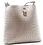 Karen Millen White Leather Perforated Across Body Bag