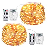 AMIR LED Lichterkette, 8 Modi 50 LED Batterie Lichterkette mit Fernbedienung, 5m Micro LED Lichterketten für Hochzeit, Party, Weihnachten, Außen/Innen Dekoration, IP65 Wasserdich, Warmweiß, 2er Pack