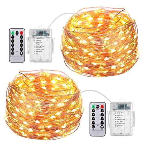 AMIR LED Lichterkette, 8 Modi 50 LED Batterie Lichterkette mit Fernbedienung, 5m Micro LED Lichterketten für Hochzeit, Party, Weihnachten, Außen/Innen Dekoration, IP65 Wasserdich, Warmweiß, 2er Pack