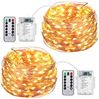AMIR Led Fairy String Lights, 50 LED / 16.4ft con control remoto a batería luces superbrillantes, (2 Pack 8 modos) Luces decorativas impermeables para fiestas al aire libre Christmas (Warm White)