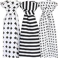 In mussola, confezione da 3, colore: nero + bianco, Ziggy Baby 121,9x 121,9cm Croce, XO e motivi a righe - Burping Panno Del Bambino