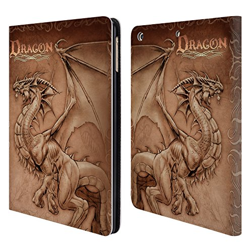 Head Case Designs Offizielle Tom Wood Pergament Drachen 2 Leder Brieftaschen Huelle kompatibel mit iPad Air (2013) -