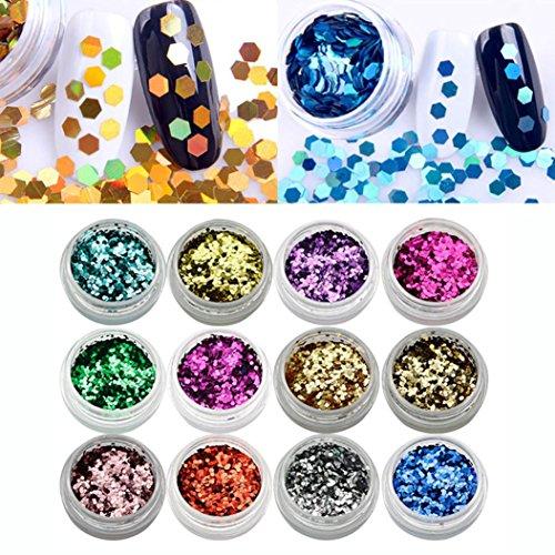 Longra Femmes 12 Pcs Couleurs Glitter 3D Paillettes Manucure Stickers pour ongles manucure autocollants d'emboutissage Nail Art d'ongle autocollants à ongles conseils décorations (12 Couleurs)