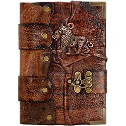 africano pendiente de león Hecho A Mano Marrón Cuero Diario Libro El Cuaderno Bloc De Dibujo Personal Agenda Oficina Escuela Niños Niñas Mujeres Hombres