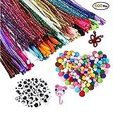 MOREFUN 500pcs Fil Chenille Pompon Kit - Art de Loisirs Créatifs pour Les Enfant Filles DIY Jouets éducatifs [100 Cure Pipes, 250 Pompons,150 Yeux Mobiles] (600pcs)...