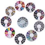 Biutee 10 pcs Caja de Acrílico de los Diamantes Brillantes para Uñas Decoración de Arte de Uñas , Varias Colors