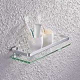 Ignpion-Glas-Regal mit Aluminium-Schiene, für Badezimmer, rechteckig, Wandmontage, 1-stöckig.