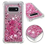 Cfrau Liquid Glitter Case with Black Stylus,Women Girls Luxury Love Hearts Series Diamond Bling Floating Quicksand Shockproof Soft TPU Case Compatible with Samsung Galaxy S10E,Rose Gold