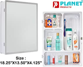 Planet Forever High Grade Multipurpose Bathroom Slim Cabinet with Mirror - White