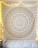 «Tapisserie ombre dorée par Raajsee» exclusive, Couvre-lit ombre, Tapisserie mandala, Mandala mural multicolore indien, Mur hippie, Couvre-lit bohème