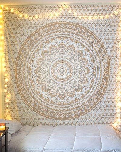 Raajsee - Exclusivo tapiz con diseño de mandala, color dorado.