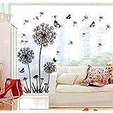 ufengke® zwarte paardenbloem en vlinders vliegen in de wind wandsticker, voor woonkamer slaapkamer verwijderbare muurtattoos