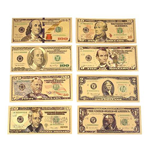 Rosepoem 1 2 5 10 20 50 100 Dollar 24K Gold überzogene Dollar Realistisch Münzsammlung - 20-dollar-münze
