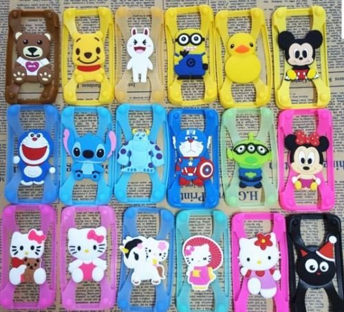 3D Cartoon Stitch Minnie kitty Silicone Universal Phone Frame Bumper Case For iphone 4 5S 6S 7 Plus Cover For All Phone 3-6 inch - Minion yellow color  available at amazon for Rs.199