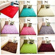 Bluelover 80x120cm Terciopelo alfombra dormitorio antideslizante Yoga Mat manta del piso-gris