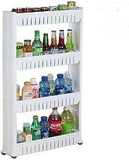 ShopAIS Plastic Bathroom Storage Rack Shelf, 4 Tiers (113x54x13cm, White)