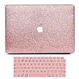 Funda para MacBook Air 13 pulgadas 2018 A1932, Belk estuche rígido para PC 2 en 1 Bling Crystal Smooth Ultra-Slim Light con funda para teclado para MacBook Air 13 con ID táctil - Oro Rosa