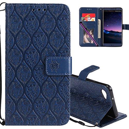 LG Q6Leder Tasche cotdinforca Premium PU Flip Book Style Ständer geprägt Design magnetische Schutzhülle mit Kartenschlitzen für LG Q6/LG Q6Plus/LG G6Mini, A Rattan 6 - Haut Magnetische Geld Clip