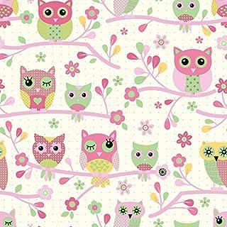 Dutch Wallcoverings E735-03 Wallpaper Owls Pink/Green
