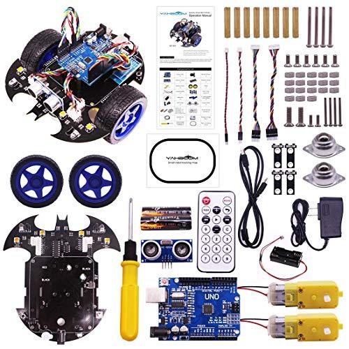 Batop Bat Robot Car Kit für Arduino Selbstbau Lernkit mit UNO R3, Line Tracking Modul, Ultraschall Sensor und Bluetooth Fernbedienung, Programmierung Roboter Spielzeug für Erwachsene und Kinder (Roboter Bausatz Fernbedienung)