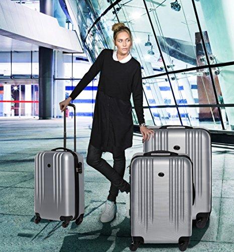 FERGÉ ensemble de 3 valises Marseille set trois trolley - rigide léger bagages à main 4 roulettes 365 degrés cabine rouge