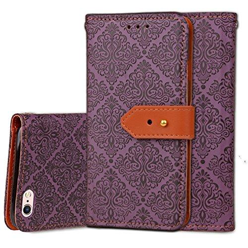 iPhone 6 Plus/6s Plus 5,5 Coque, Voguecase Étui en cuir synthétique chic avec fonction support pratique pour Apple iPhone 6 Plus/6s Plus 5,5 (Fresques européennes-Gris)de Gratuit stylet l'écran aléato Fresques européennes-Violet