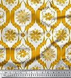 Soimoi Gold Seide Stoff Blumen- Damast Stoff drucken Meter