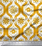 Soimoi Gold Poly Krepp Stoff Blumen- Damast Stoff drucken