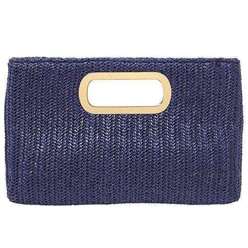 Blau Stroh Handtaschen (JNB Clutch mit Strohhalm oben, (navy), Large)