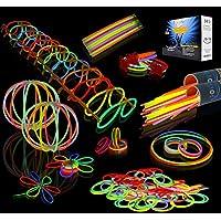 "JOYIN Glow Sticks Bulk 200 8"" Glowsticks (Total 456 PCs 7 Colors); Bracelets Glow Necklaces Glow-in-The-Dark Light-up Party Supplies Pack, New Year Party 2020"