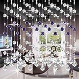 Moginp Vorhang,Vorhänge Kristall Glas Perlen Curtain Gardinen Luxus Wohnzimmer Schlafzimmer Fenster Tür Hochzeit Dekor (H)