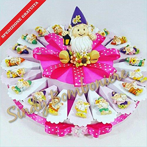 Sindy bomboniere torta bomboniera gnomo folletto magnete bimba spedizione inclusa nascita battesimo (torta da 20 fette)