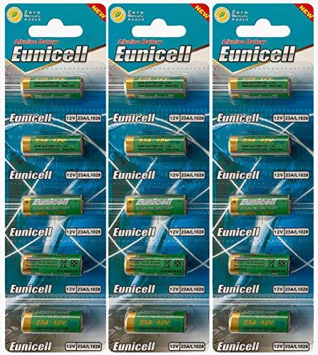 Eunicell 15 x 23A 12V (3 Blistercards a 5 Batterien) Quecksilberfreie Alkaline Batterien MN21, 23A, V23GA, L1028, A23 EINWEG Markenware FBA