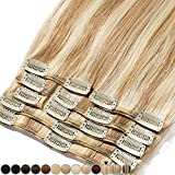 Extension a Clip Cheveux Naturel - 100% Cheveux Humain Remy Rajout Vrai Cheveux Naturel (#12+613 Marron clair Méché Blond très clair, 25cm-70g)