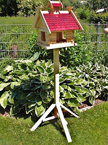 Vogelhaus mit Ständer-XXXL Rot (V06+S1)-Vogelhäuser Vogelfutterhaus Vogelhäuschen-aus Holz- Schreinerarbeit