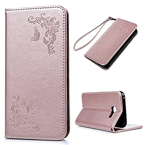 A5 2017 Case - MAXFE.CO Embossed Butterfly and Flower Rose Gold PU Leather Flip Folio Case Stand Cover Case for Samsung Galaxy A5 2017 (5.2 Inch) with Dual Layer Hand Strap Card Holder [Stand Function] [Magnetic Closure] - Rosy