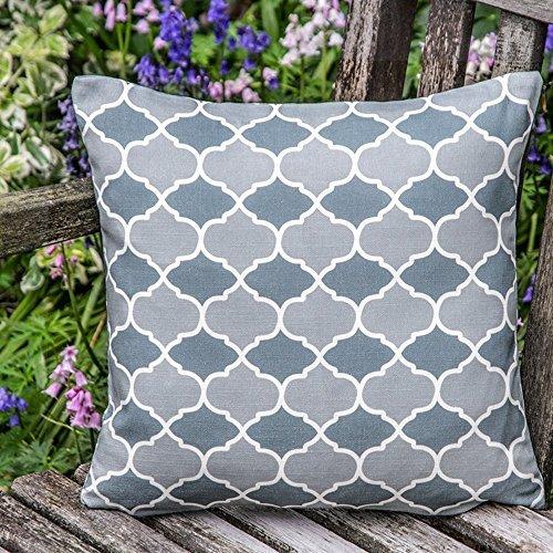 """Designer Wasserdicht Marokkanische Garten Außen Kissen - Grau Badi, """"Marrakesch"""" Sammlung - Entworfener Bedruckt & handgefertigt in Großbritannien - Set of 2, 50 x 50 cm Cushions"""