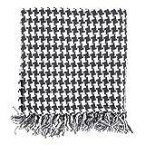 Homescapes Handgewobene Tagesdecke schwarz weiß Hahnentrittmuster 150 x 200 cm Plaid 100% reine Baumwolle Bettüberwurf mit Fransen