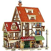 Motionjoy Home Decor 3D Rompecabezas de Madera Miniatura DIY casa Artesanal Kit-Top Imaginación Edificio Juguetes Artesanales Puzzle para Niños y Adultos + Mejor Regalo para Niños y Niñas (Global Style House, French Cafe)