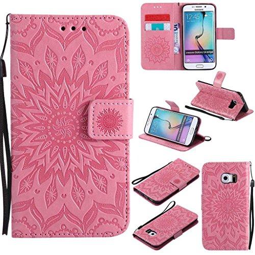 BoxTii Galaxy S6 Edge Hülle [mit Frei Panzerglas Displayschutzfolie], Galaxy S6 Edge Schutzhülle mit Kartenfächern, Premium Lederhülle für Samsung Galaxy S6 Edge (#3 Pink)