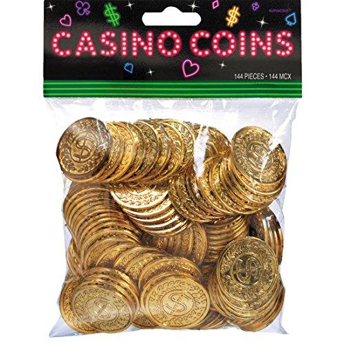 NET TOYS 144 Jetons de Casino - doré | Pièces pour Machine à sous | l'argent du Jeu | Décoration de fête Poker