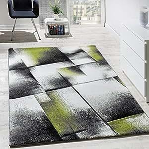 paco home designer teppich wohnzimmer teppiche kurzflor meliert gr n grau creme schwarz gr sse. Black Bedroom Furniture Sets. Home Design Ideas