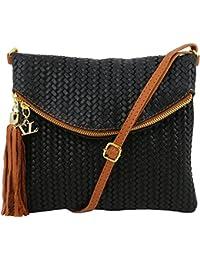Tuscany Leather - TL Bag - Sac bandoulière en cuir imprimé tressé avec pompon - Noir