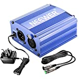 Neewer 1- Channel 48V Phantom Power Supply Blue with Adapter and One XLR Audio Cable for Any Condenser Microphone Music Recording Equipment