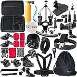 Togetherone 50 en 1 Kit d'Accessoire pour GoPro Hero 5 4 3+ 3 2 1 Black Silver, SJCAM SJ4000 SJ5000 SJ6000, VTIN, VicTsing, ICONNTECHS IT, Nexgadget, Campark, TecTecTec Caméra Sport Accessoires Trousse
