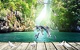 XZCWWH 3D Wallpaper Murale Personalizzato 3D Wallpaper Camera Delfini Nuoto Bordo 3D Parete Foto Impostazione Sfondo,400cm(W)×280cm(H)