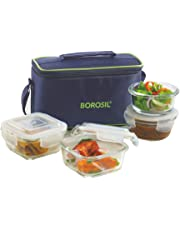Borosil Glass Universal Lunch Box Set of 4, (2pcs 320 ml sqr + 2pcs 240 ml Rnd) Microwave Safe Office Tiffin